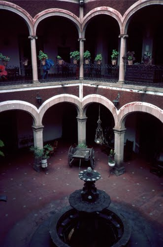 Courtyard of the (now) Hotel Posada San Jorge, Durango, Mexico.
